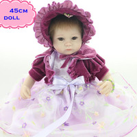 New Gift Brinquedos About 18Inch 45 Cm Silicone Reborn Baby Dolls For Sale Elegant Reborn Baby