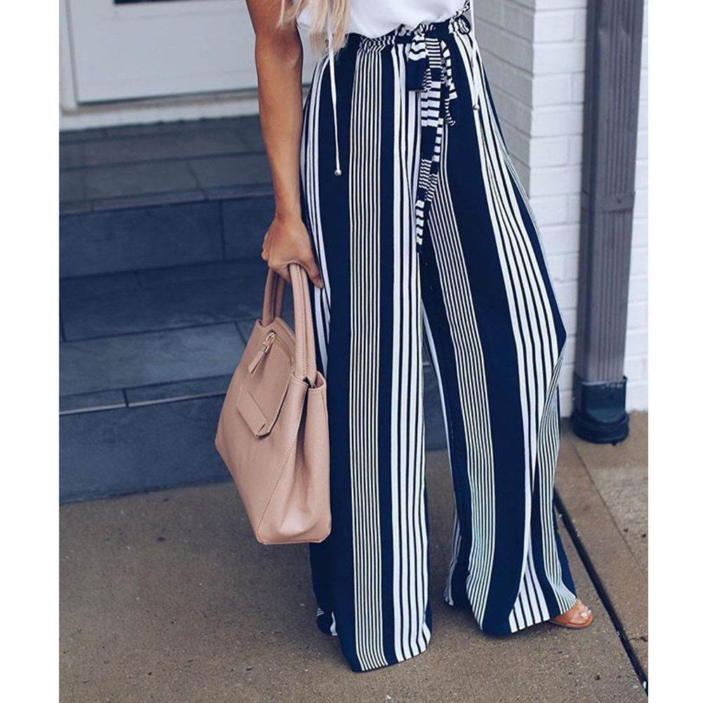 Fashion Summer Wide Leg lace up Pants Women High Waist Striped Loose Palazzo Pants Elegant Office Ladies Trousers 5