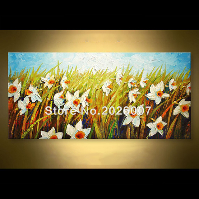 Hand Painted Abstract Wall Art Modern Home Decoration Daffodil ...
