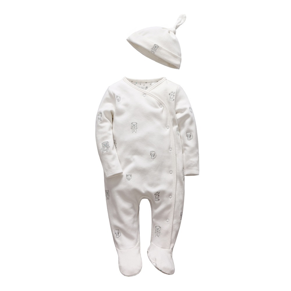 b65b74f7ce2f Best buy Vlinder 2017 girl Boys rompers Soft long sleeve Cartoon Animal  infantil newborn baby clothes white cotton infant jumpsuit + Hat online  cheap