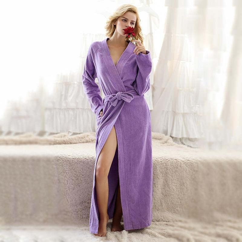 Lelaki dan Wanita Kapas Murni Terry Towel Penyerapan Air V-Neck Kimono Bathrob Jubah LoungeWear Spa Robes Lounge Wear Pajama Gown