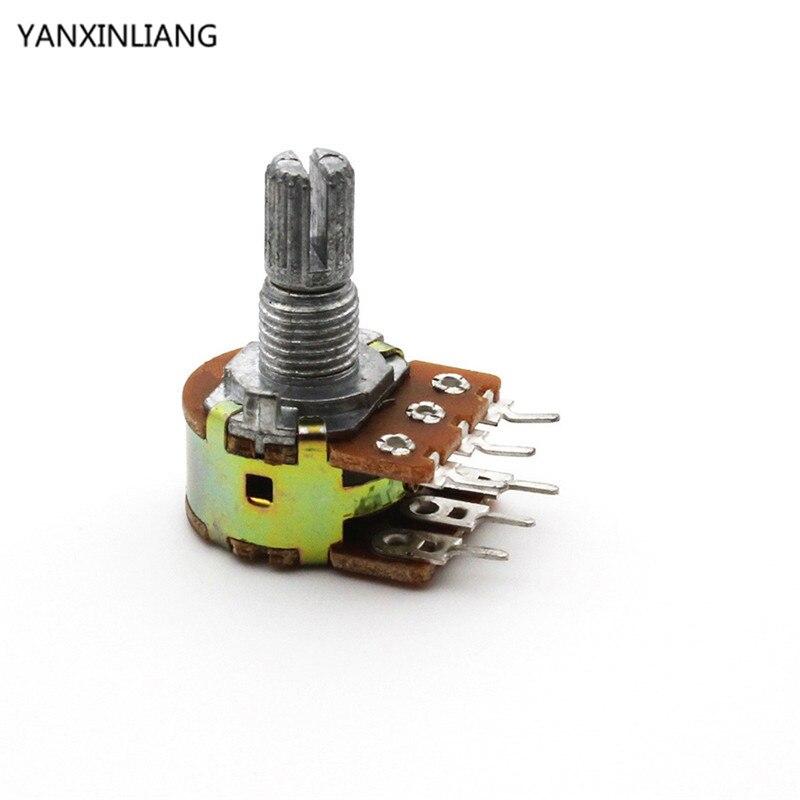 5pcs Dual Stereo Potentiometer Pot B500K 500K Ohm R Linear shaft 15mm 15 shaft =15 6Pin Shaft WH148 Amplifier