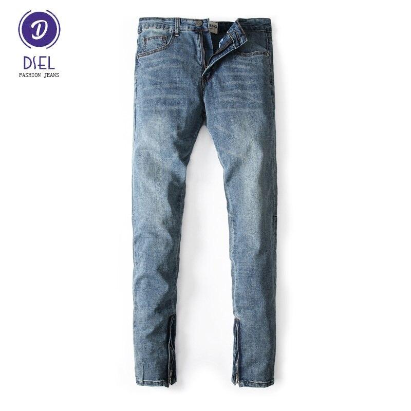 DSEL Brand Mens Jeans Blue Color Elastic Stretch Denim Slim Fit Jeans Men Pants Ankle Zipper Skinny Streetwear Biker Jeans patch jeans men slim skinny denim blue jeans ripped trousers famous brand dsel jeans elastic pants star mens stretch jeans w701