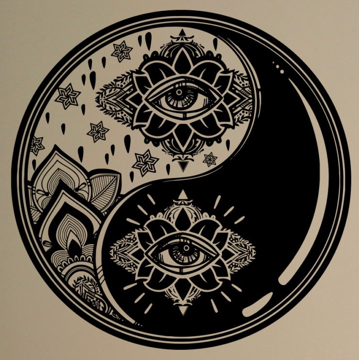 Wall Decal Yin Yang Symbol Vinyl Sticker Zen Harmony Balance Yoga