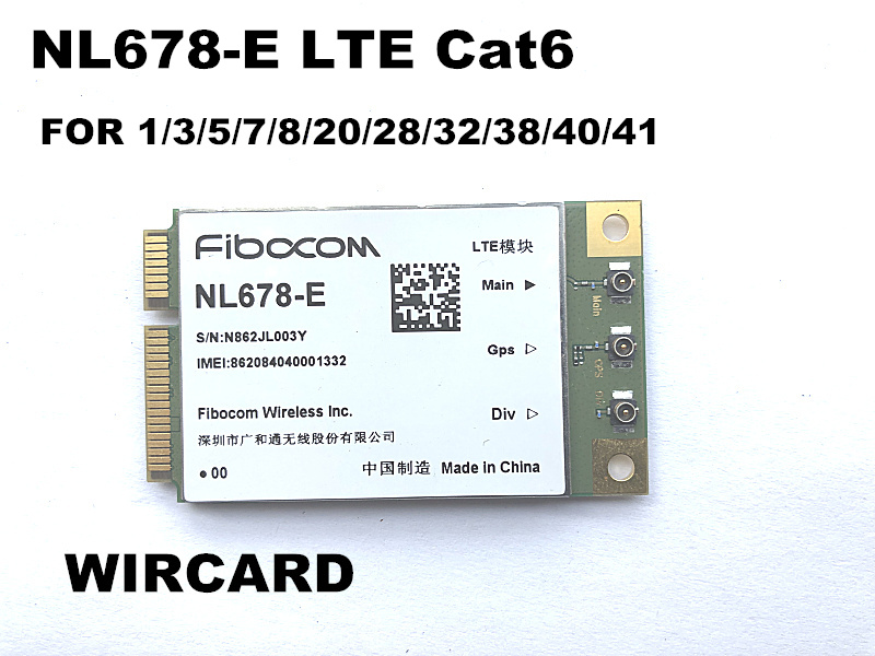 NL678-E LTE Cat6 Mini PCIe Cellular Module LTE DL 300Mbps  UL 50Mbps GPS for LTE Band 1/3/5/7/8/20/28/32/38/40/41(China)