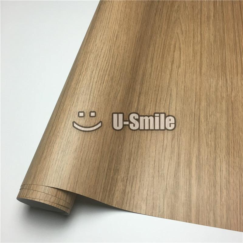 Film en bois de PVC de rouleau de vinyle de Grain en bois de chêne pour l'intérieur de voiture de meubles de mur taille: 1.24X50 m/petit pain (4ftX165ft)