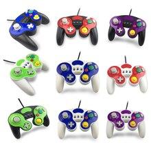 Controlador com fio gamepad com três botões para jogo cubo N G C manche de mão