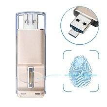 Fingerprint Sliding Unlock Pen drive 16GB USB flash drive 2.0 for Android Smart Phone Flash Memory Stick Pendrive U disk