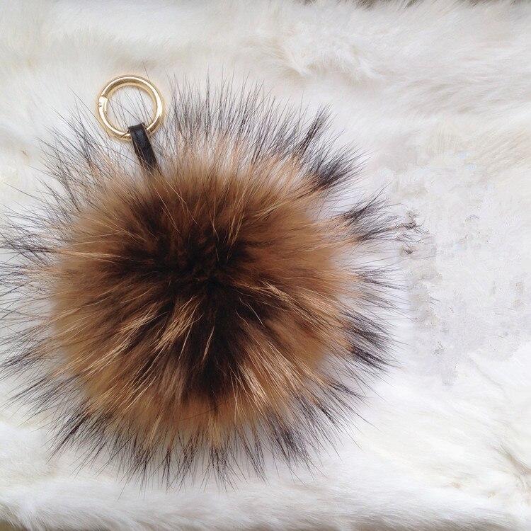 furry keychain pom pom key chains long red fox fur with black tip pompoms  keyrings plush fur bag charm luxury purse charm puffs-in Key Chains from  Jewelry ... 8647e69c78062