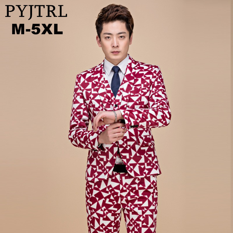 a5dd301e17508 Detail Feedback Questions about PYJTRL 2018 Tide Plus Size 5XL Rose Red  Geometry Pattern Modern Suits For Men Jacket and Pants Fashion Casual Dj  Prom Tuxedo ...