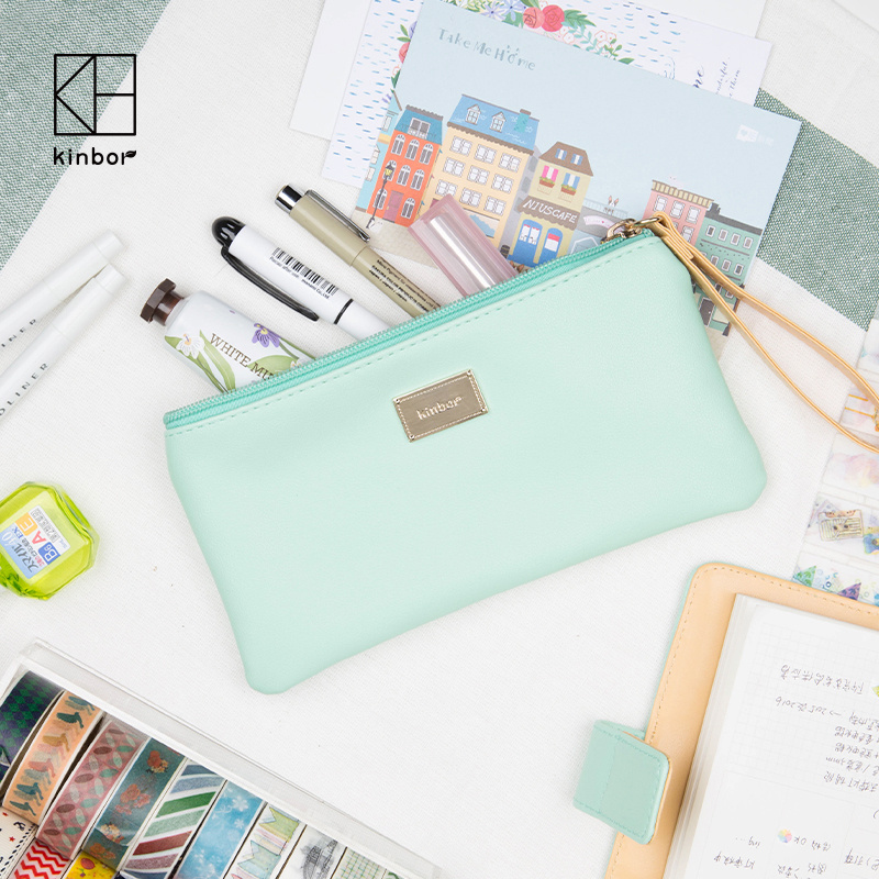1 Piece Ice Cream Color Cute Korean Stationery Large Capacity PU Pencil Bag Makeup Pouch Pen Bag School and Office Stationery сумка bata bata ba060bmqec69