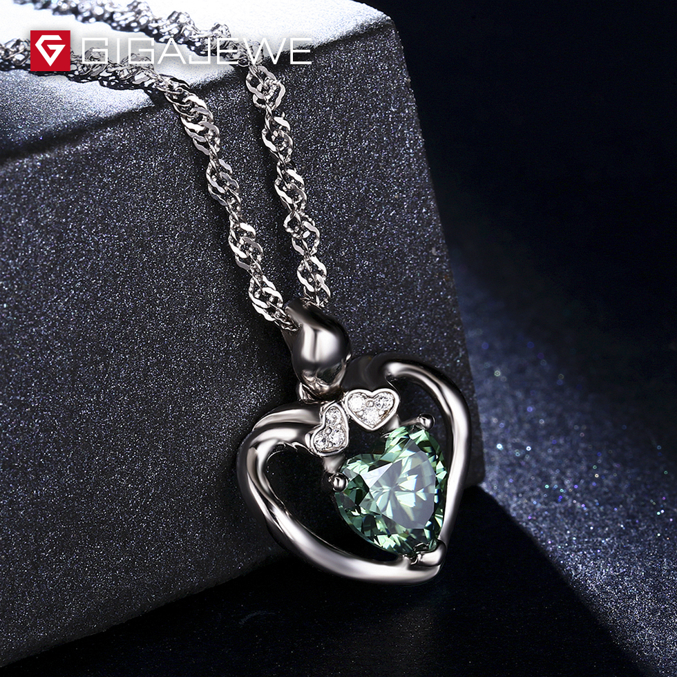 GIGAJEWE 1.3ct Yellowish and Green Color Heart Cut Genuine Moissanite Pendant Necklace Available in Silver Strand color block cut and sew leggings