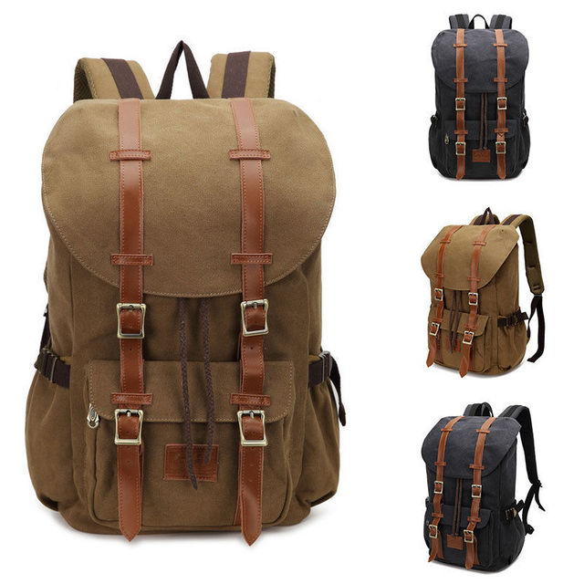Vintage Men's Backpack Military Canvas Leather Travel Backpack ...
