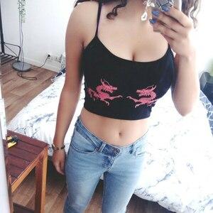 Image 3 - Weekeep Women Cropped Dragon Print Cami Summer Sexy Black Spaghetti Strap Backless Crop Top 2018 Streetwear Bralet Tops Women