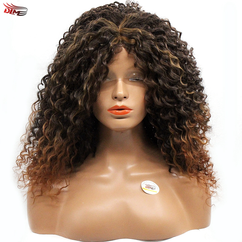 Dlme Loose Curl Mix #2/30 Ombre Brown Color Wig Kinky Curly Synthetic Lace Front Hair Heat Resistant For African American Women