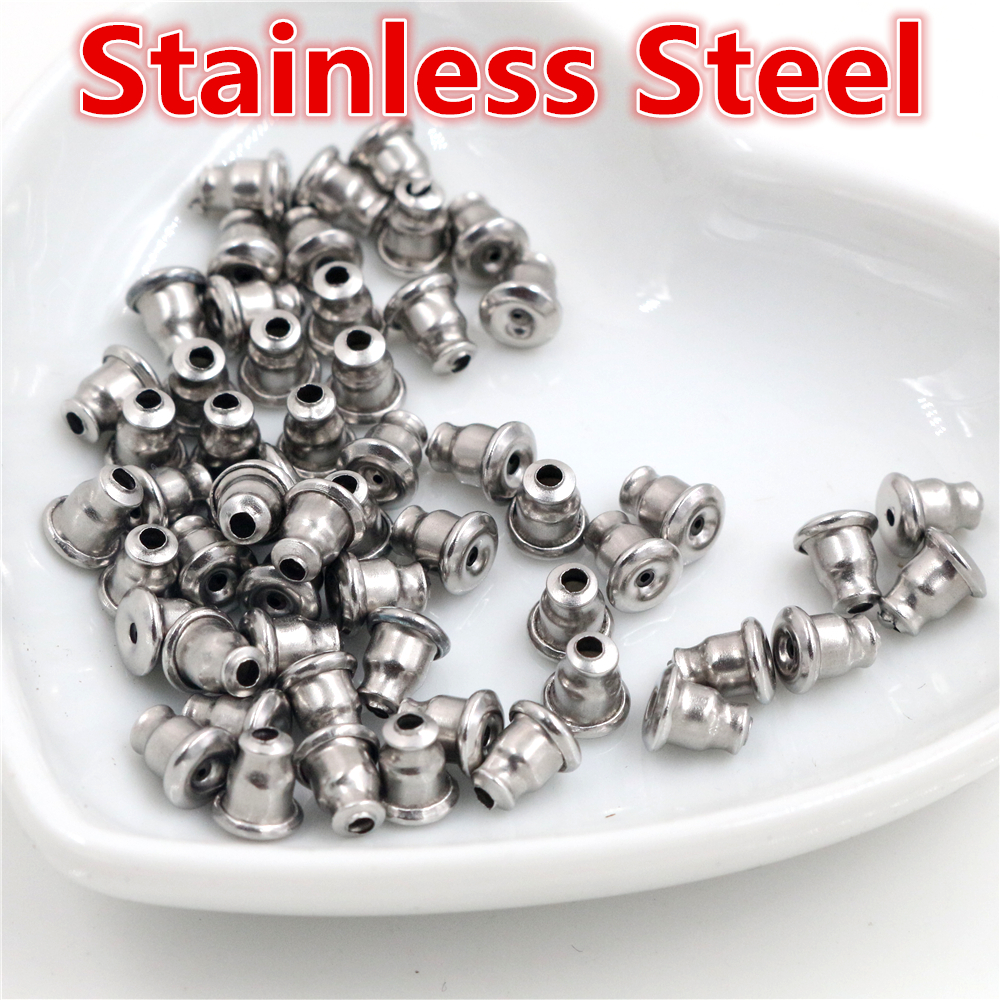 50pcs/Lot High Quality Stainless Steel Earring Back Plug Earring Settings Base Ear Studs Back Earring Stopper Whole Sale-T1-36