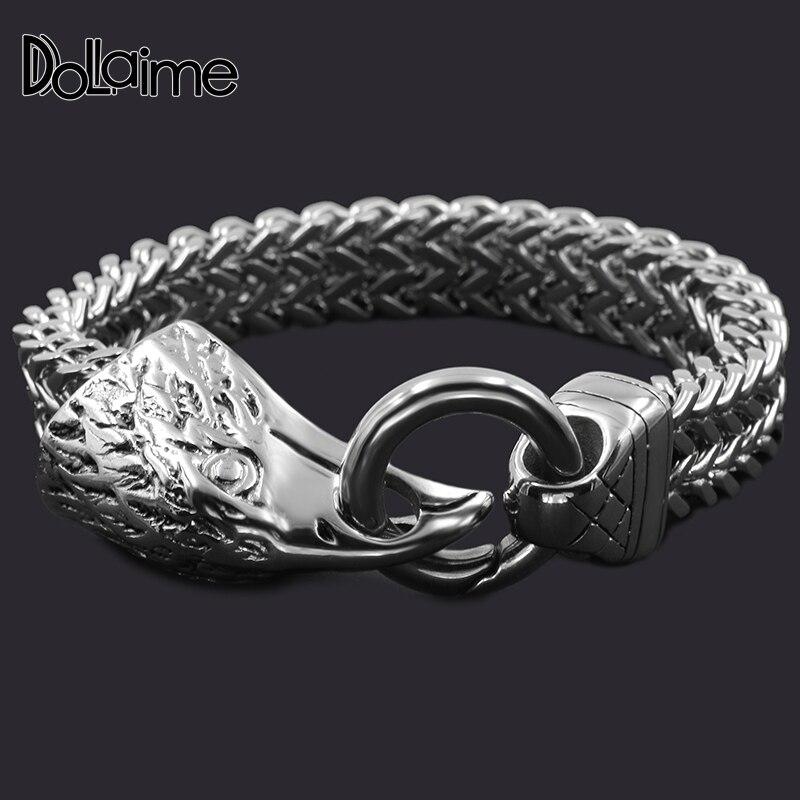 5ed9e36e7db0 Dolaime fiesta Casual estilo plata Color acero inoxidable Animal pulsera  para los hombres de moda ...