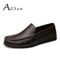 AGSan Genuine Leather Shoes Men Business Moccasins Plus Size 10 5 10 9 5 Office Leather