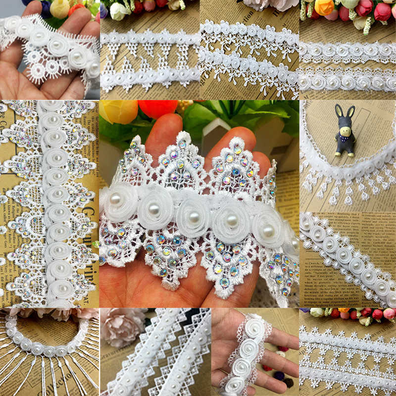 1 Yard Vintage Tassel Organza Flower Pearl Lace Edge Wedding Trim Guipure Embroidered  Ribbon Applique Sewing a4aab60d2650