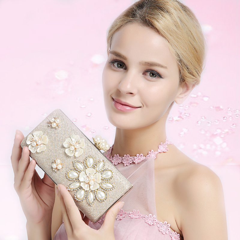 Women Evening Bags 2017 Lady Party Wedding Handbag Pearl Beaded Satin crystal Elegant Banquet Clutch Purse Free Shipping 1633-1