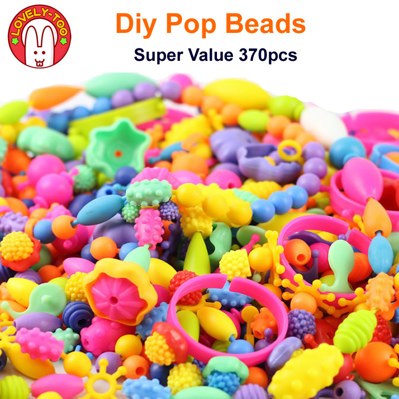 Lovely Too 370pcs Cordless Beads Niños Amblyopia Candy Colors DIY - Juegos y rompecabezas