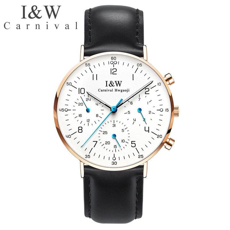 Luxury Brand Carnival Watch Men Quartz Men's Watches Luminous Watch Male Waterproof Multiple Time Zone reloj hombre C8787G6 1|Quartz Watches| |  - title=