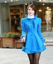2014 Winter explosion models Fashion sweet Lace collar Upscale Slim Jacket Women's Asymmetrical hem woolen X05