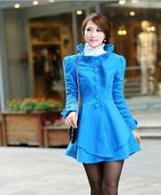 2014 Winter explosion models Fashion sweet Lace collar Upscale Slim Jacket Women's Asymmetrical hem woolen X05