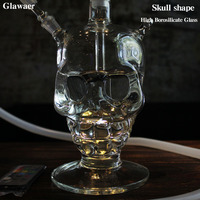 Glawaer Cool Skull Head Hookah Small Shisha Glass Healthy Smoking Water Pipes Best Gifts With Led Light Glass Narguile Chicha