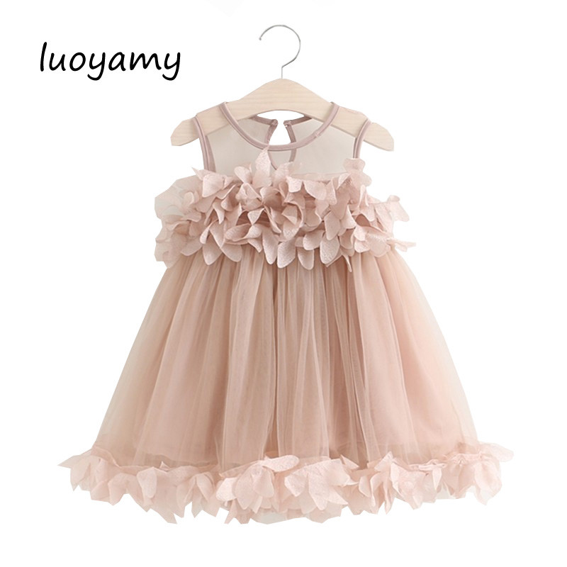 luoyamy Baby Girls Summer Birthday Party Dress Wedding Princess Petal Vest Dresses Children Toddler Infant Clothes baby girls infant wedding party bowknot sleeveless ruffled vest dress sundress