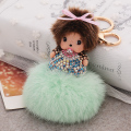 Fur Ball Monchichi Keychain Trinket Fashion Monchhichi Sleutelhanger Key Chain Handbag Accessories Charm Key Rings Best Gift