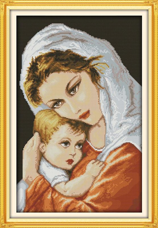 Olejomalba stylu maminka a syna Tištěná plátna DMC Počítačové křížové stitch soupravy tištěné Cross-stitch set Výšivka Vyšívání