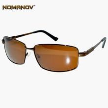 NOMANOV = Rectangular Brown Myopia Polarized Sunglasses Custom Made short sight Minus Prescription Lenses -1 to -6