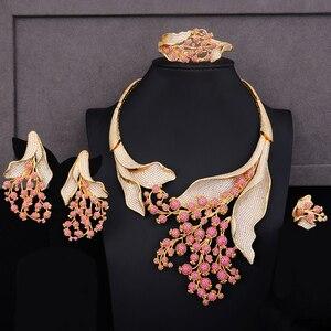 Image 2 - GODKI Luxury MAXI SIZE GRAPE 4PCS Nigerian Jewelry Set For Women Wedding Zircon Indian African Bridal Jewelry Set 2018