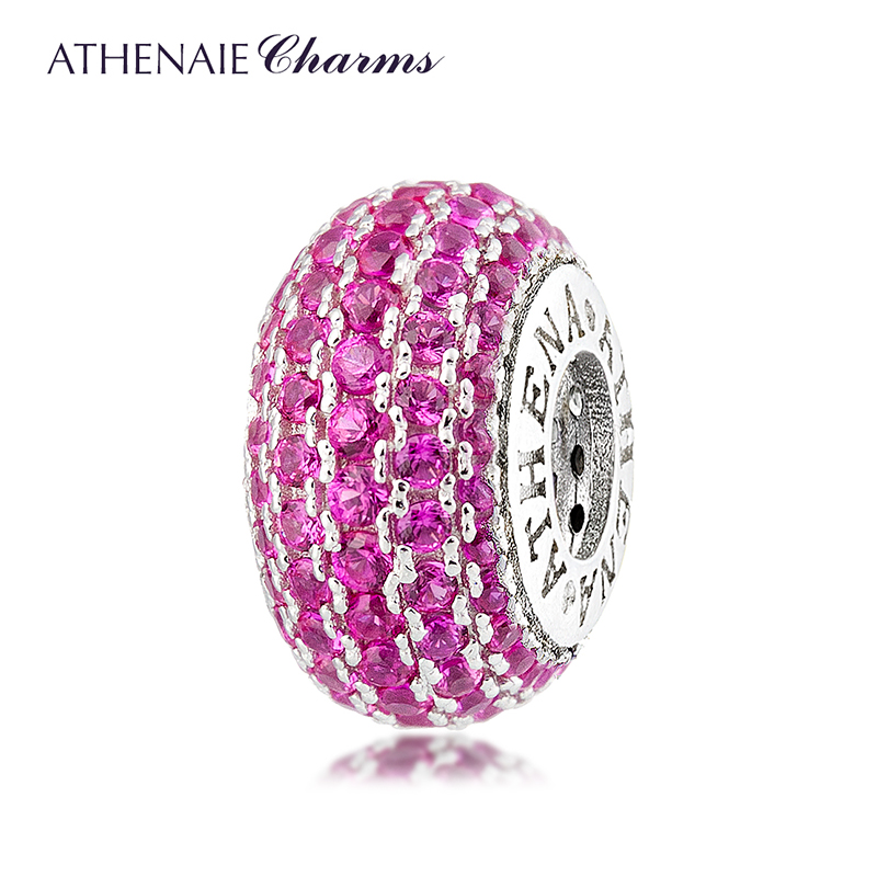 все цены на ATHENAIE Genuine 925 Sterling Silver Charms Bead Pave CZ Beads Color Rose Fit All European Charm Bracelet Authentic Jewelry Gift онлайн