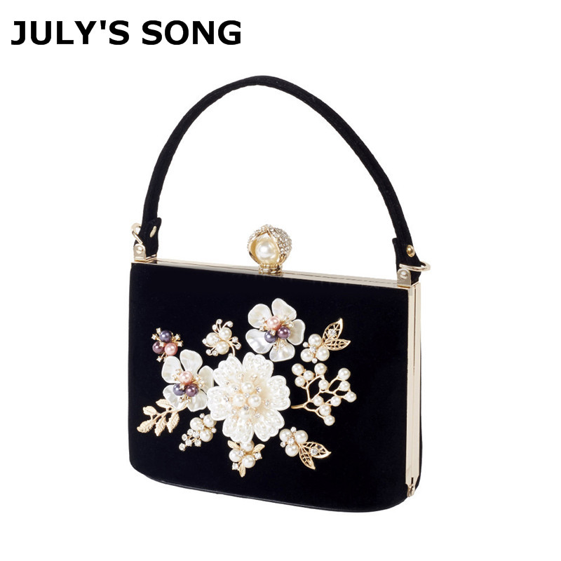 Ladies Velvet Clutch Pearl Crystal Evening Bags Women Velour Party Wedding Hand Bag Bridal Luxury Mini Day Purse bolsos