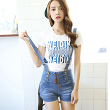 2016 plus size Korea summer lady loose ripped denim overalls casual denim shorts pants suspenders Jumpsuits Rompers women jeans