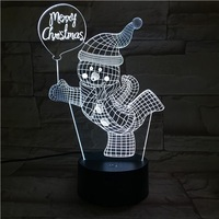 Adjustable Light Specific Character Merry Christmas Snowman 3d Night Light Cute Christmas Gift For Baby Mini Pir Room Lamp New