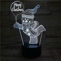 Luz ajustable carácter específico Feliz Navidad muñeco de nieve 3d luz de noche lindo regalo de Navidad para bebé Mini Pir lámpara de habitación nuevo