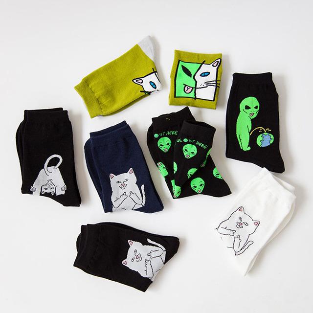 Cotton Art Funny Creative Cartoon Cat Alien Planet Breathable Socks 1 Pair