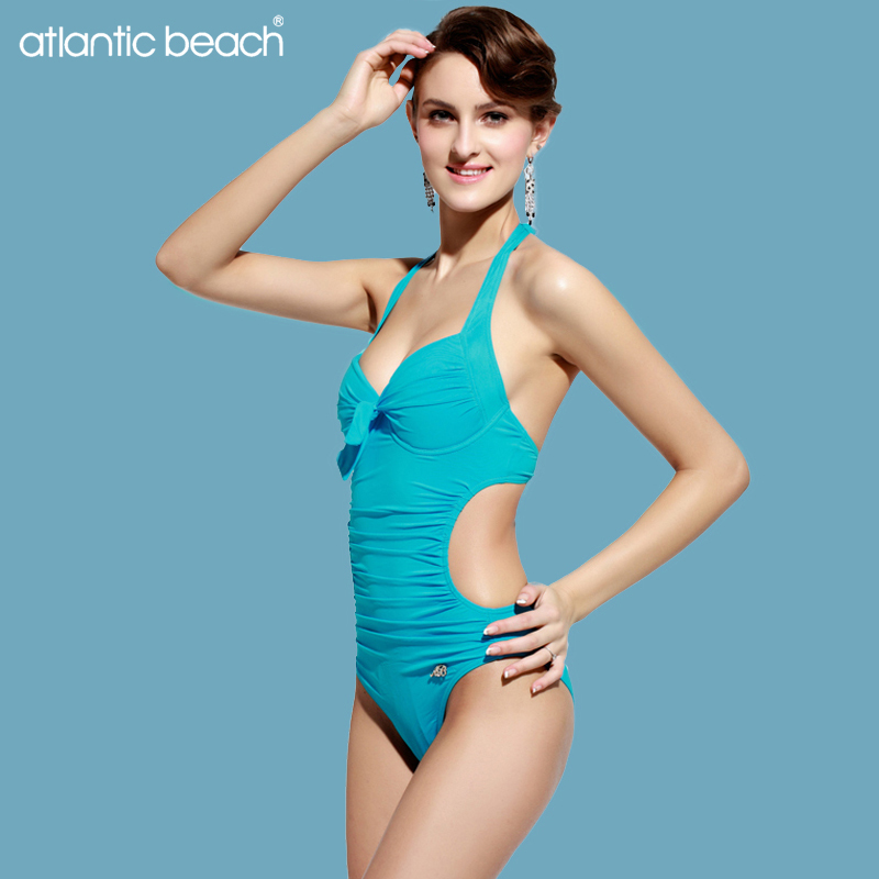 Atlanticbeach Women swimsuits bathing suit sexy push up one piece swimsuit bandage solid swimwear monokini maillot de bain femme sexy one piece swimsuit women swimwear trikini bathing suit push up monokini padded maillot de bain femme halter beachwear d261