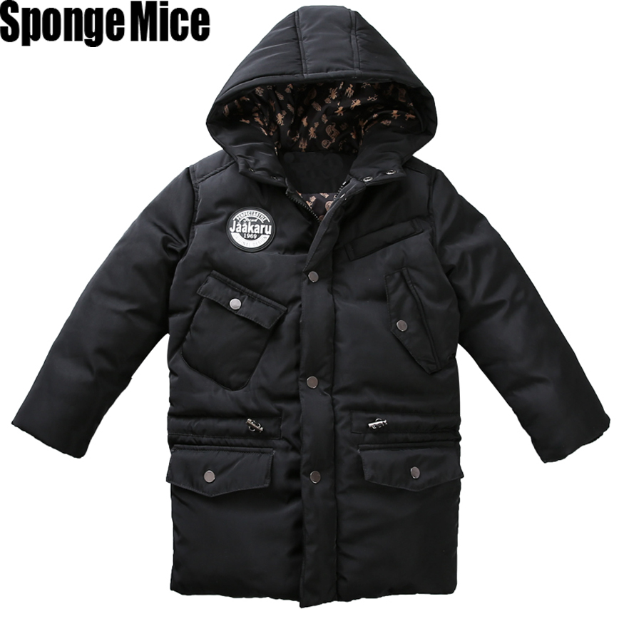 2017 Winter Children Boys Down Jacket Coat Fashion Hooded Thick Solid Warm Coat Boy Winter Clothing Outwear For 6-16year 2016 winter thick down jacket fashion girls boys cotton hooded coat children s jacket warm outwear kids casual outwear 16a12