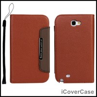 Wallet Leather Case For Samsung Galaxy Note 2 N7100 With Card Holders Lanyard