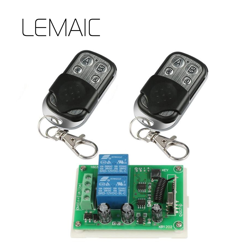 LMAIC 433Mhz Universal Wireless Remote Control Switch DC 12V 2CH Relay Receiver Module And 2pcs RF Transmitter 433 Mhz Remote high quality 12v 24v 2ch rf wireless remote control lighting switch receiver with 2ch relay for smart home 315mhz 433 92mhz