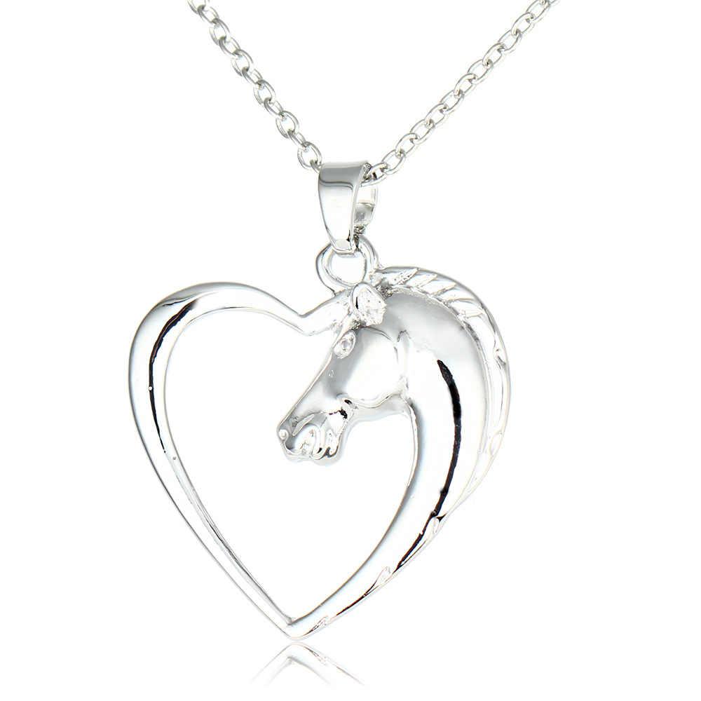 Mode Hewan Kuda Kalung Kuda Perhiasan Cinta Hati Pendant Kulit Rantai Kalung Wanita Hadiah Ibu Keluarga Teman Hadiah