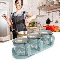 3 pçs/set Galheteiro Garrafa Tempero Condimento Cozinha Suprimentos de Vidro Com Colher Organizador Caixas De Armazenamento CHURRASCO Especiarias Garrafa de Sal Açúcar