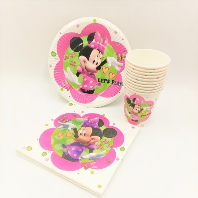 40pc/set Theme Cup/Plate/Napkin Minnie Mouse Party Supplies For Girls Shower & 40pc/set Theme Cup/Plate/Napkin Minnie Mouse Party Supplies For ...