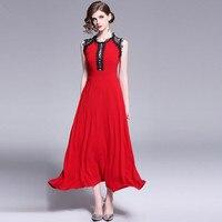 HAMALIEL Runway Sleeveless Long Big Swing Dress 2019 Summer Women Red Chiffon Patchwork Lace Tank Party Dress Slim Maxi Vestidos