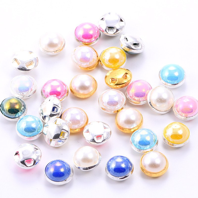 100pcs <font><b>8mm</b></font> Half Round Pearls With Claw ABS Flatback Sewing Beads Colorful Sew On <font><b>Buttons</b></font> for DIY Clothes Accessories B1202 image