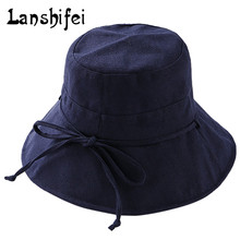 Women Summer Beach Sun hats 2017 New Brand Solid Color Sun Hat Lady Outdoor Large Curved Brim Beach Fishing Bucket Hat feminino(China)